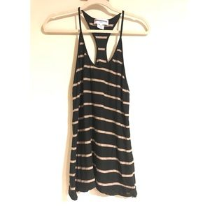 SONIA RYKIEL Black Brown Striped Halter Tank Top